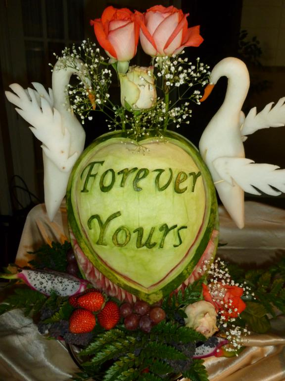 Wedding watermelon carving displays eye catching edibles
