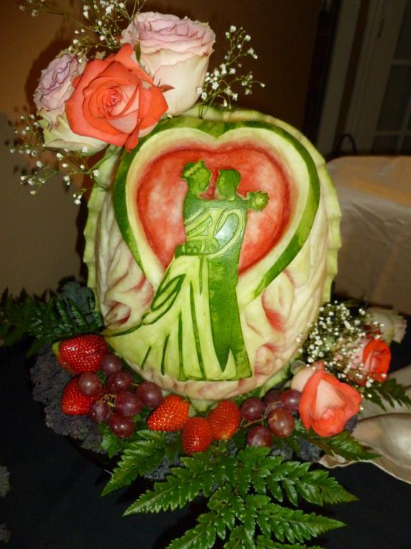 Wedding fruit carving displays eye catching edibles